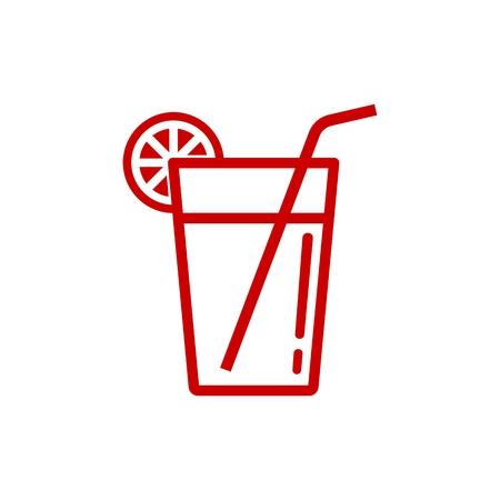 Lemonade Beverage Glass Simple Line Icon isolated on plain background. Illustration