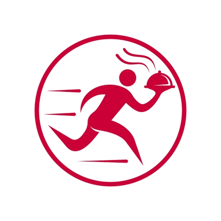 Runing Man Food Courier Simple Icon isolated on plain background.