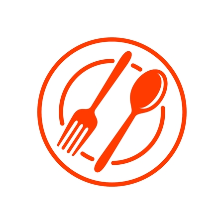 Restaurant Spoon and Fork Simple Line Icon isolated on plain background.
