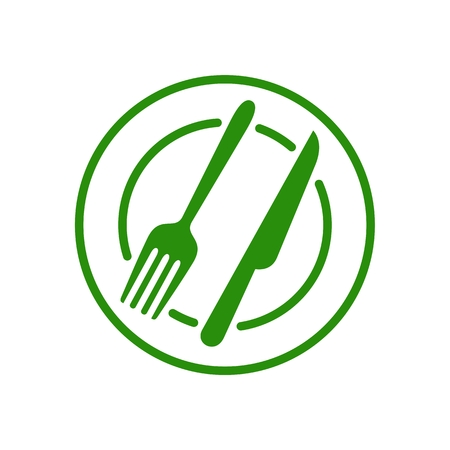 Restaurant Fork and Knife Simple Line Icon Vettoriali