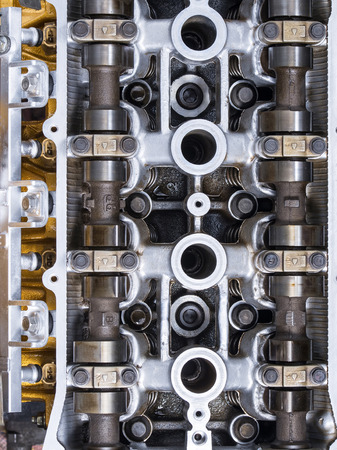 cam gear: A Car Engine Head Stock Photo