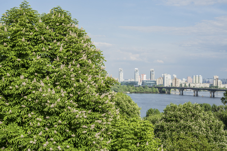 dnipro: Aerial view of Kiev with Dnipro river. Ukraine Stock Photo