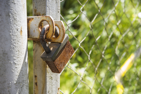 no entrance: Lock on the fence