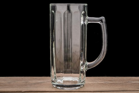 empty beer glass on the table Stock Photo
