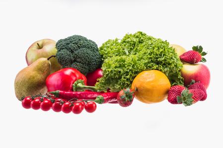 Apple,Tomato, Lettuce, Broccoli, Paprika, Red Chili Pepper, Pear, Lemon and Strawberry