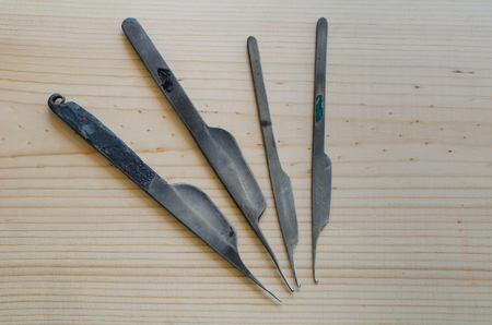 Set of hook knifes to make and restore rugs
