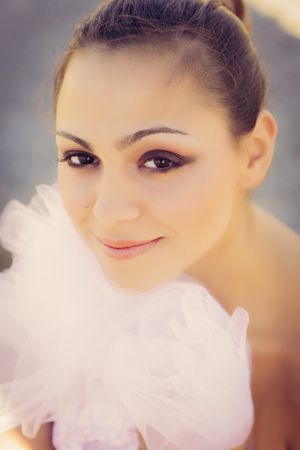 panache: Closeup woman portrait of beautiful young ballerina Stock Photo