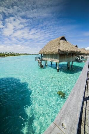 polynesia: Overwater Bungalows in Moorea, French Polynesia, Stock Photo