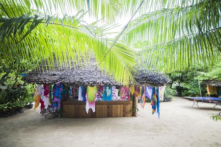 reasons: Pareos Shop in Bora Bora Stock Photo