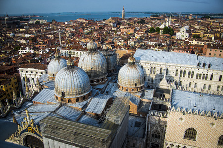 aereal: Aereal view of San Marco Basilica, Venice, Italy