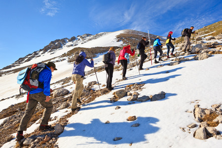 A group of tourists to climb in the mountains of the Caucasus Imagens
