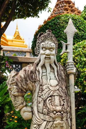 in wat phra kaew: stone sculpture in Wat Phra Kaew temple, Bangkok, Thailand Stock Photo