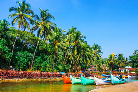 bright boats on the river bank  in tropic with palms and blue sky. Goa, India Imagens
