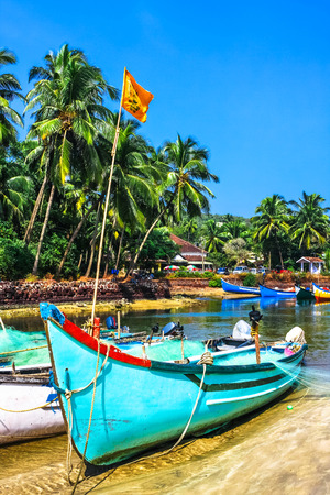 bright fishing wooden boat on the river bank  in tropic with palms and blue sky, Goa, India