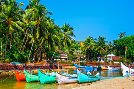 bright fishing wooden boats on the river bank  in tropical climate with palms and blue sky