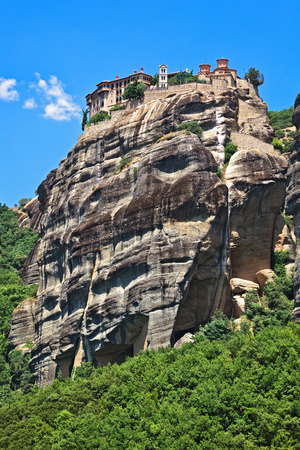 kalambaka: The Holy Monastery of Great Meteoron, erected in the mid-14th century. Included in the complex of Greek Orthodox monasteries Meteora. Kalambaka, Greece