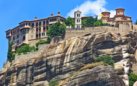 kalambaka: The Holy Monastery of Great Meteoron , built in the mid-14th century. Included in the complex of Greek Orthodox monasteries Meteora. Kalambaka, Greece