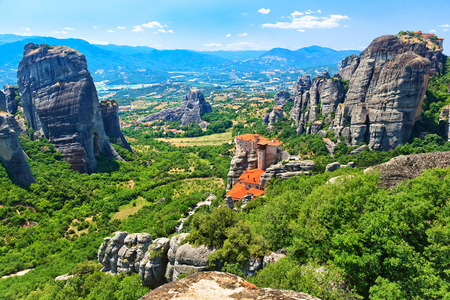 Panoramic view of the valley of Thessaly and the Holy Monastery of Rousanou-St. Barbara. It was founded in the middle of 16th century and decorated in 1560.