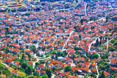 View over Greek town Kalambaka with typical terracotta tile roofs