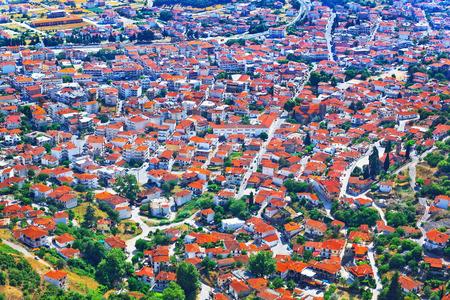 kalambaka: View over Greek town Kalambaka with typical terracotta tile roofs