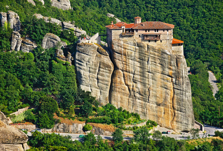 View of the Holy Monastery of Rousanou-St. Barbara. It was founded in the middle of 16th century and decorated in 1560.  Included in the complex of Greek Orthodox monasteries Meteora. Kalambaka, Greece Imagens