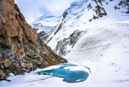 Glacial lake in the mountains of Caucasia. Editorial