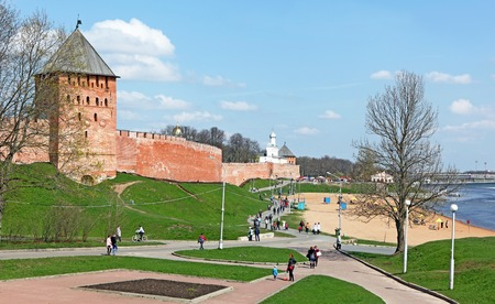 Veliky Novgorod, Russia - May 01, 2016: a view of one of the most famous attractions of Russia - Novgorod Kremlin. It's included in the List of World Heritage Sites of UNESCO