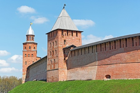 Old brick Kremlin walls and towers of Veliky Novgorod (Novgorod the Great), Russia. It's one of the main attractions of Russia, is included in the world heritage list of UNESCO