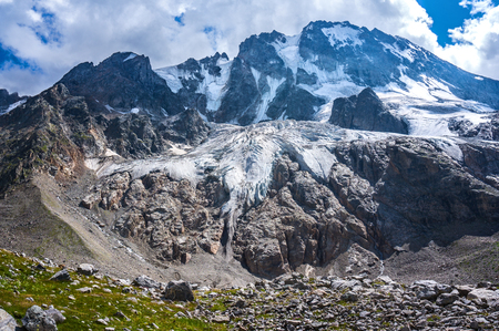View of the Ullu-Tau glacier. Caucasus mountains, Kabardino-Balkaria, Russia