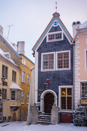 Tallinn, Estonia - January 05, 2017: one of the many medieval houses in the old town of Tallinn - Vana Tallinn Editorial