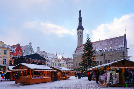 Tallinn, Estonia - January 05, 2017: traditional Christmas market in the square in front of town hall in the historic centre of the city.