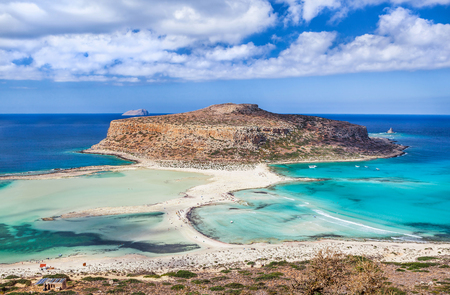 Unusual view of Balos bay on Crete island, Greece. Beautiful place with crystal clear azure water where three seas are connected: the Ionian, the Aegean and the Libyan
