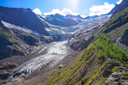 View of the circus of the Alibek glacier, Dombay region, Caucasus, Russia. The picture was taken in autumn 2020