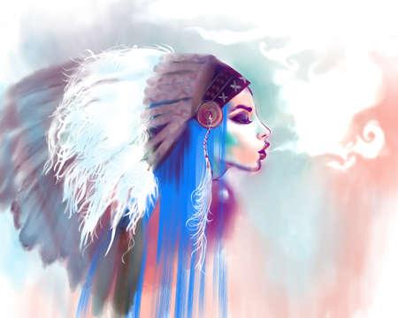 Niña india americana que fuma un tubo, sobre un fondo de color de agua. Mujer india con el tradicional maquillaje y tocado de mira a la cara. chica de moda estilo boho con el pelo azul. El humo de mensaje. Foto de archivo - 50425607