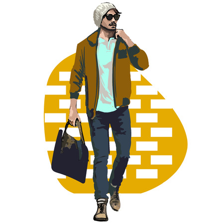 Beautiful Brunette Men a hat. Beauty Model Male. Hairstyle. Fashionable men. Freehand drawing. Can be used for banners, cards, covers, etc. Color illustration about fashion street style. Stok Fotoğraf