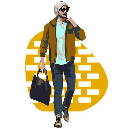 Schöne Brunette-Männer einen Hut. Schönheit Modell Male. Frisur. Modische Männer. Freihandzeichnen. Kann für Banner, Karten, Briefe, etc. Farbe Abbildung über Mode Street-Style verwendet werden. Standard-Bild