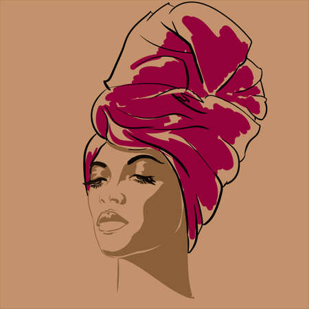 Attractive young African-american fashion model. Portrait of beautiful African woman. illustration. portrait of beautiful African American woman in line art style. Side view. Stock Photo