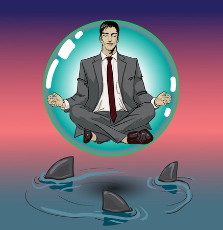 sense of security: Ironic Satirical Illustration. Tired businessman working Peace of Mind. Silhouette of a man figure meditating on a ball, bubble. Calm businessman sitting in yoga asana and smiling of Sharks business.