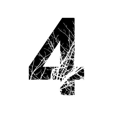 number 4: Number 4 double exposure with white tree on black background.Vector isolated illustration.Black and white double exposure silhouette numbers combined with photograph of nature.Letters of the alphabet