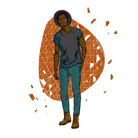 mannequin africain: Beautiful Brunette hommes un chapeau. Beauté modèle masculin. Coiffure. hommes à la mode. vecteur de dessin à main levée. Peut être utilisé pour des bannières, des cartes, des couvertures. Vector portrait africains beaux hommes américains.