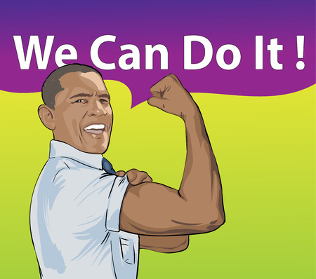 A vector illustration of a portrait of President Obama on the white background. USA president Barack Obama figure with comic cloud: We Can Do It. Stage for Presidential Campaign. 10 October 2015 Banco de Imagens - 83326469