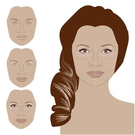 applying: Cute cartoon girl shows curvy bright black eyelashes as a result after applying mascara. Icon set for skincare infographic. Colorful vector image illustrated steps of using cosmetic. Stock Photo