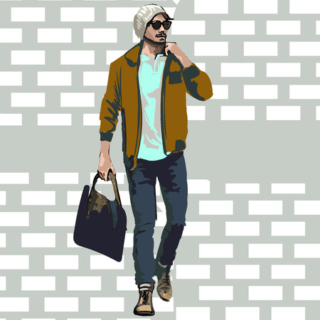 Beautiful Brunette Men a hat. Beauty Model Male. Hairstyle. Fashionable men. Freehand drawing vector. Can be used for banners, cards, covers, etc. Color illustration about fashion street style. Imagens