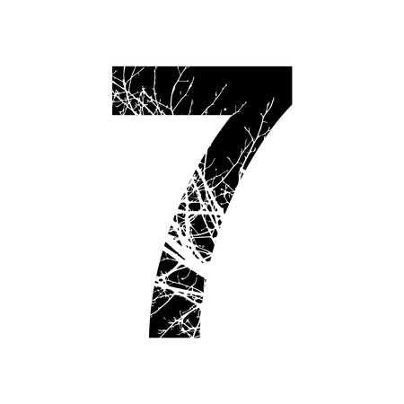 number 7: Number 7 double exposure with white tree on black background.Vector isolated illustration.Black and white double exposure silhouette numbers combined with photograph of nature.Letters of the alphabet Stock Photo