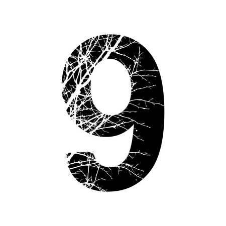 number 9: Number 9 double exposure with white tree on black background.Vector isolated illustration.Black and white double exposure silhouette numbers combined with photograph of nature.Letters of the alphabet