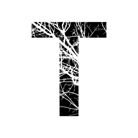 Letter T double exposure with white tree on black background.Vector isolated illustration.Black and white double exposure silhouette numbers combined with photograph of nature.Letters of the alphabet