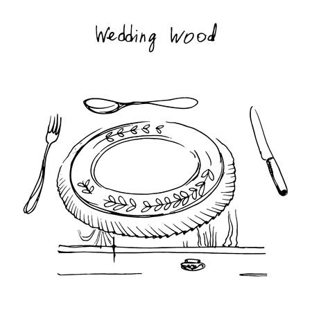 wedding table setting: Set of wedding vintage design elements, designers toolkit.  Vector illustration.