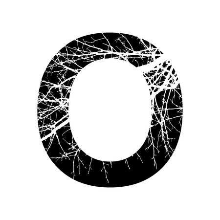 double exposure: Letter O double exposure with white tree on black background.Vector isolated illustration.Black and white double exposure silhouette numbers combined with photograph of nature.Letters of the alphabet Illustration