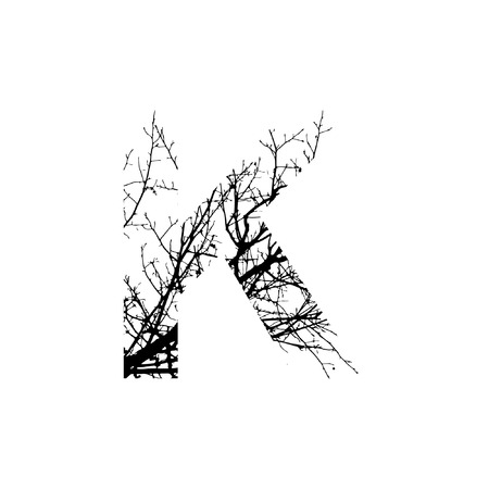 Letter K double exposure with black trees isolated on white background.Vector  illustration.Black and white double exposure silhuette numbers combined with photograph of nature.Letters of the alphabet
