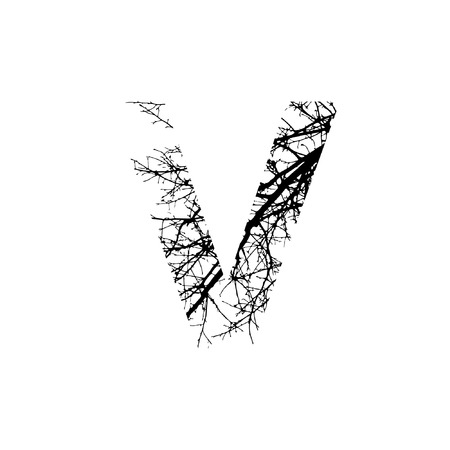 Letter V double exposure with black trees isolated on white background.Vector  illustration.Black and white double exposure silhuette numbers combined with photograph of nature.Letters of the alphabet